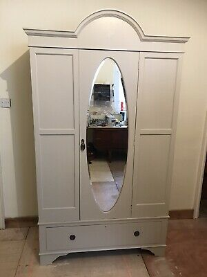 Mahogany Mirror Door Watdrobe Refurbished In Cornfoth White