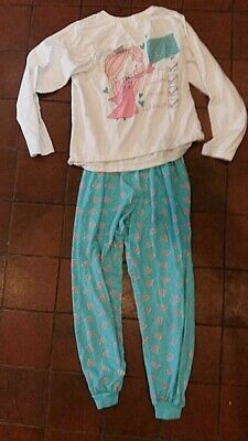 Girls princess check py's pyjama set age 12 13 years blue teal white pink