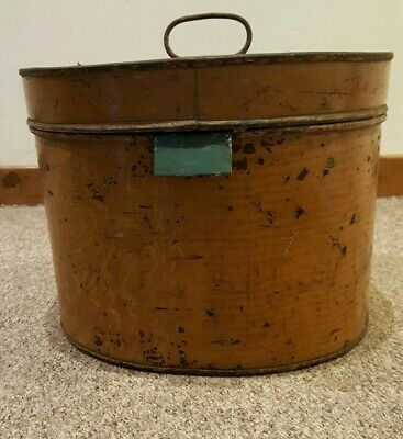 Large Vintage/Retro Metal Tin Hat Box