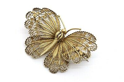 A Large Antique Vintage Art Deco 800 Sterling Silver Filigree Butterfly Brooch