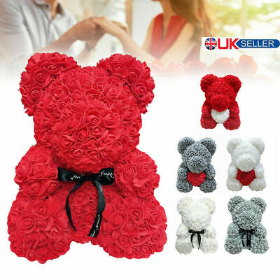 Rose Flower Bear Lovely Teddy Bear Lovers XMAS Gifts Wedding Rose Bear 25CM Toy