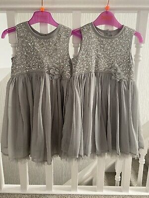 Next Signature Girls Bridesmaid/party Dress Age 2-3 Years Silver/grey