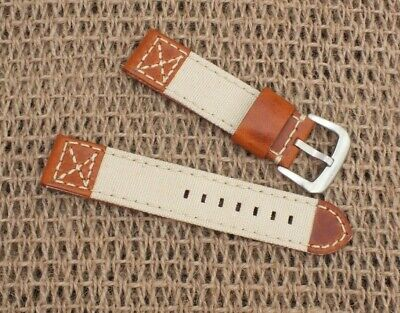 Zuludiver Canvas on Genuine Leather Tan Brown  Watch strap 22mm
