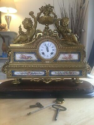 French Antique Ormolu Clock Chime & striking figural mantel clock circ 1860