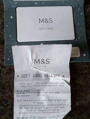 £30 Marks and Spencer Gift Card £30 M & S Gift Card / Voucher