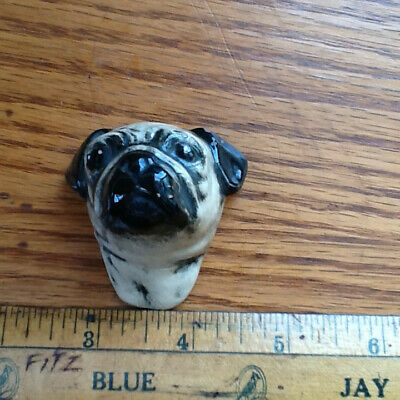 Unique Clay Glazed Bust of English Pug