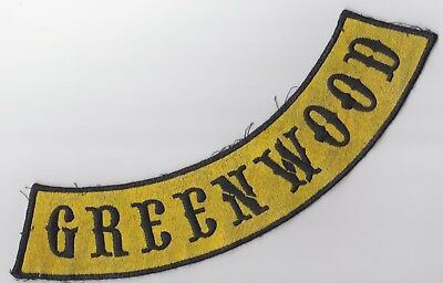 Greenwood Motorcycle Biker Patch Yellow Black UNUSED