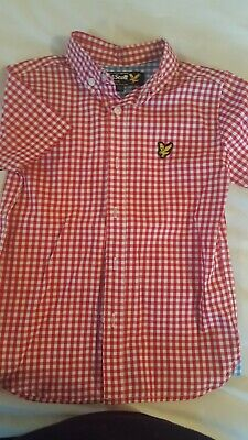 Boys, Lyle & Scott, Short Sleeve, Red and White Check Shirt. Age 4-5