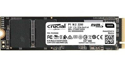 NEW CRUCIAL CT500P1SSD8, P1 500GB NVME M.2 PCIE 3D NAND SSD, READ SPEED: 1,9.a.