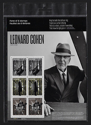 Canada Stamps — Full pane of 6 — 2019, Leonard Cohen — MNH