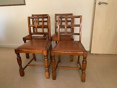 Set 4 Arts & Crafts Lattice Back Oak Dining Chairs ~ Manner of Heals