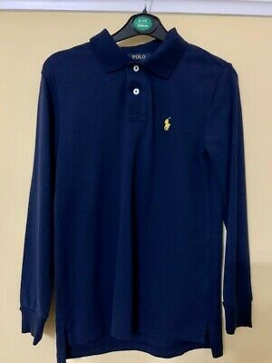 Boys Polo Ralph Lauren Long Sleeve Polo Shirt - Blue  - Size 10 - 12 Years