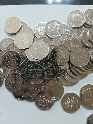 100 x 50p Brand new brexit 50p loose coins all from sealed bags. UNCIRCULATED