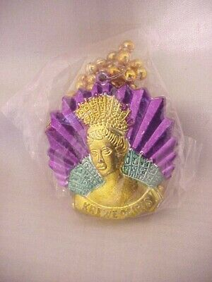 Krewe of Iris Medallion Necklace Mardi Gras Throw Beads ~ New in Package