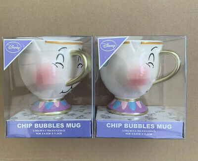 PRIMARK DISNEY CHIP 2 X BUBBLES MUGS BRAND NEW AND SEALED Beauty And The Beast