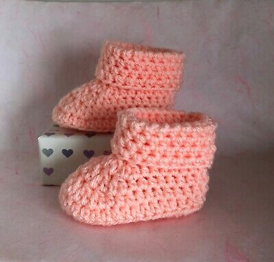 Crochet Knitted Baby Bootees Boots Booties Shoes Various Sizes - Peach