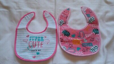 Baby Girls Pack of 2 Bibs with Peva Backing New
