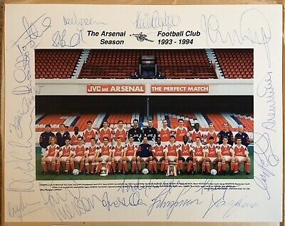 Vintage Signed ARSENAL 1993-94 European Cup Winners Cup Winning Squad Photo