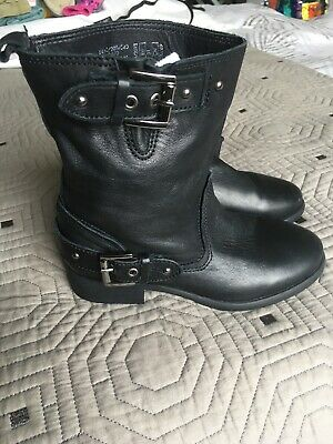 Zara Girls Real Leather Biker Buckle Boots Euro 31 Size 12.5 Brand New