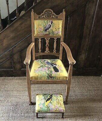 Arts & Crafts Oak Throne Chair. Timorous Beasties 'Fruit Looters' fabric recover