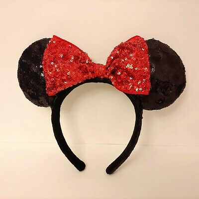 Disney Parks Minnie Ears Headband Black with Red Bow ALL SEQUIN Circle Design
