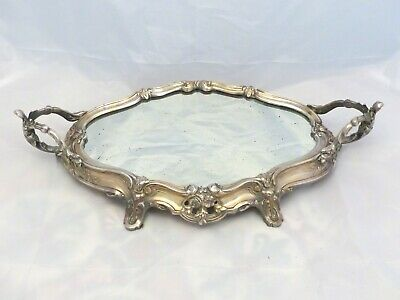 """Late 19TH Antique French Silverplated Bronze 1880 Mirror Centerpiece Tray 19"""""""