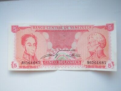 Venezuela Bank Notes 5 cinco bolivares 1989