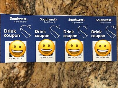 SOUTHWEST AIRLINES DRINK COUPONS (x4) - EXPIRE ON 2/28/2021
