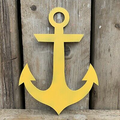 Rustic YELLOW Anchor Ship Boat Nautical Sign Shop Bar Cafe Restaurant Decoration
