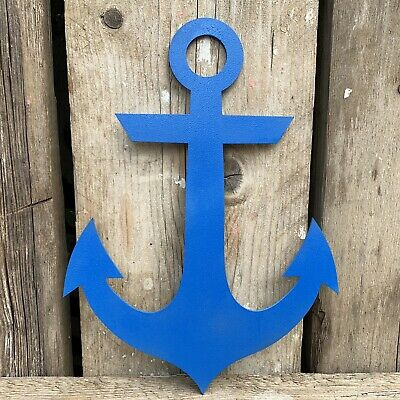 Rustic BLUE Anchor Ship Boat Nautical Sign Shop Bar Cafe Restaurant Decoration