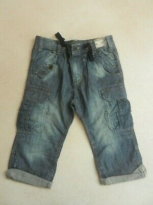 BNWT Next Boys Denim Longer Length Roll Up Cargo Shorts Age 9 Years