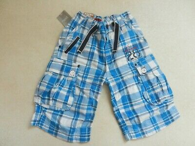BNWT Next Boys Cobalt Bright Blue & White Check Cargo Summer Shorts Age 7 Years