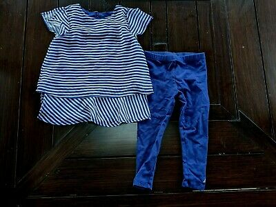 Nautica~2 Piece Blue Spring Outfit~Top Pant~Leggings~Baby Toddler Girl~24 Months