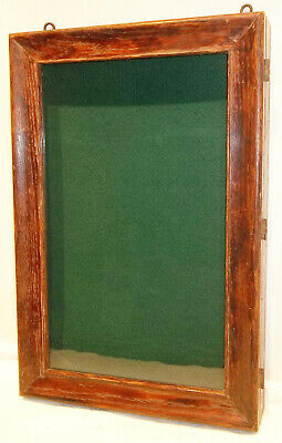Antique Country Store Oak Wall Hanging Display Case Knife, Padlock, Hotel Key