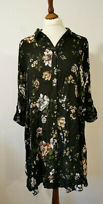Womens F And F Size 12 Floral Loose Fit Shirt Dress VGC
