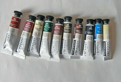 Daler Rowney Artists Watercolours. Series A. 10x5ml tubes. New. All different.