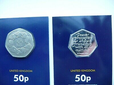 Official UK 2020 Brexit 50p  and 1973 50p Joining  the EEC Both Sealed & Carded.