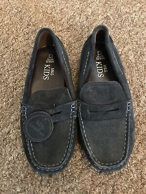 Marks & Spencer Boys Navy Suede Loafers Size 13 BNWT