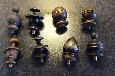 Job Lot Of Antique Wooden Clock Finial Knobs