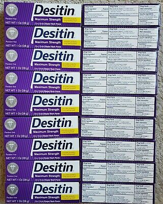 (18) Desitin Baby Diaper Rash Paste Max Strength, 1 oz per tube  Expire 7/2020