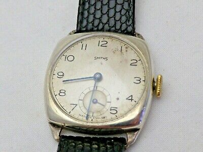 Vintage Solid Silver SmithS Made in England Cushion Case Gents Watch 1946