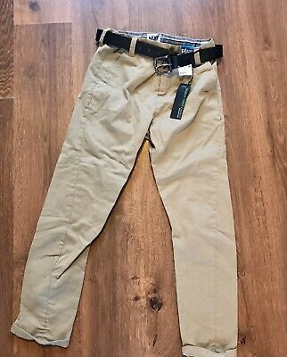 Bnwt! Boys Tan Chinos With Belt From NEXT! 8 Years Plus Fit