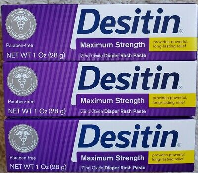 (3) Desitin Baby Diaper Rash Paste Maximum Strength, 1 oz Each Expire 07/2020