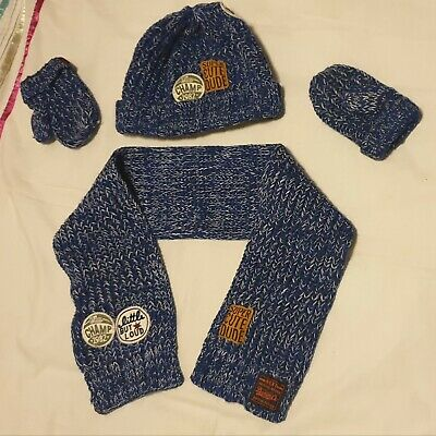 Next Age 1-2 Very Cute Hat Scarf And Mittens Set Blue Excellent Condition