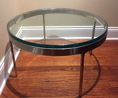 Mid-Century Modern Chrome and Glass Coffee Side Table Milo Baughman AMAZING!!