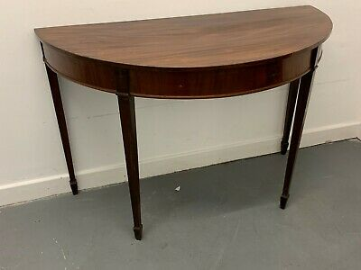 An Attractive Edwardian Mahogany Demi Lune Table