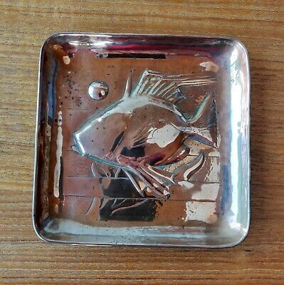 Arts and Crafts copper dish with fish
