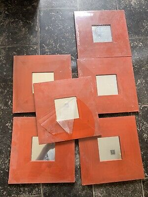 5 X Red Framed Mirror Tiles - New 26cm x 26cm - IKEA One Open