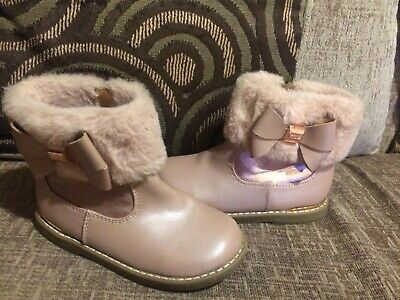 Girls Pink Ted Baker Boots Infant Size 8 Faux Fur Trim