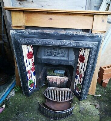 Absolutely Beautiful Genuine Antique Victorian Cast Iron Tiled Fireplace Insert